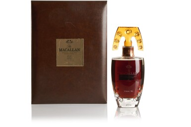 THE MACALLAN IN LALIQUE SIX PILLARS COLLECTION WITH BLACK LACQUER WALNUT CABINET BY JAMES LAYCOCK
