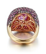 PINK SAPPHIRE AND DIAMOND RING, MICHAEL YOUSSOUFIAN | 粉紅色剛玉 配 鑚石 戒指, Michael Youssoufian