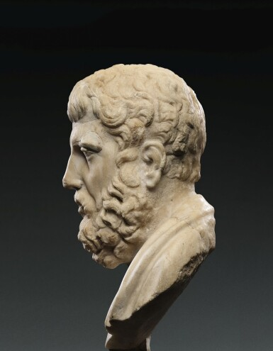 View 3. Thumbnail of Lot 91. A Roman Marble Portrait Bust of Hermarchos of Mytilene, circa 1st Century A.D..