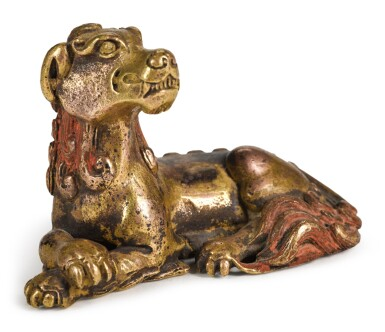View 2. Thumbnail of Lot 73. A GILT-BRONZE 'MYTHICAL BEAST' PAPERWEIGHT | 17TH/18TH CENTURY | 十七/十八世紀 鎏金銅瑞獸鎮紙.