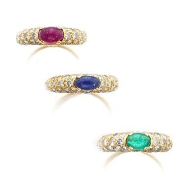 View 1. Thumbnail of Lot 1074. Three gem set and diamond rings.