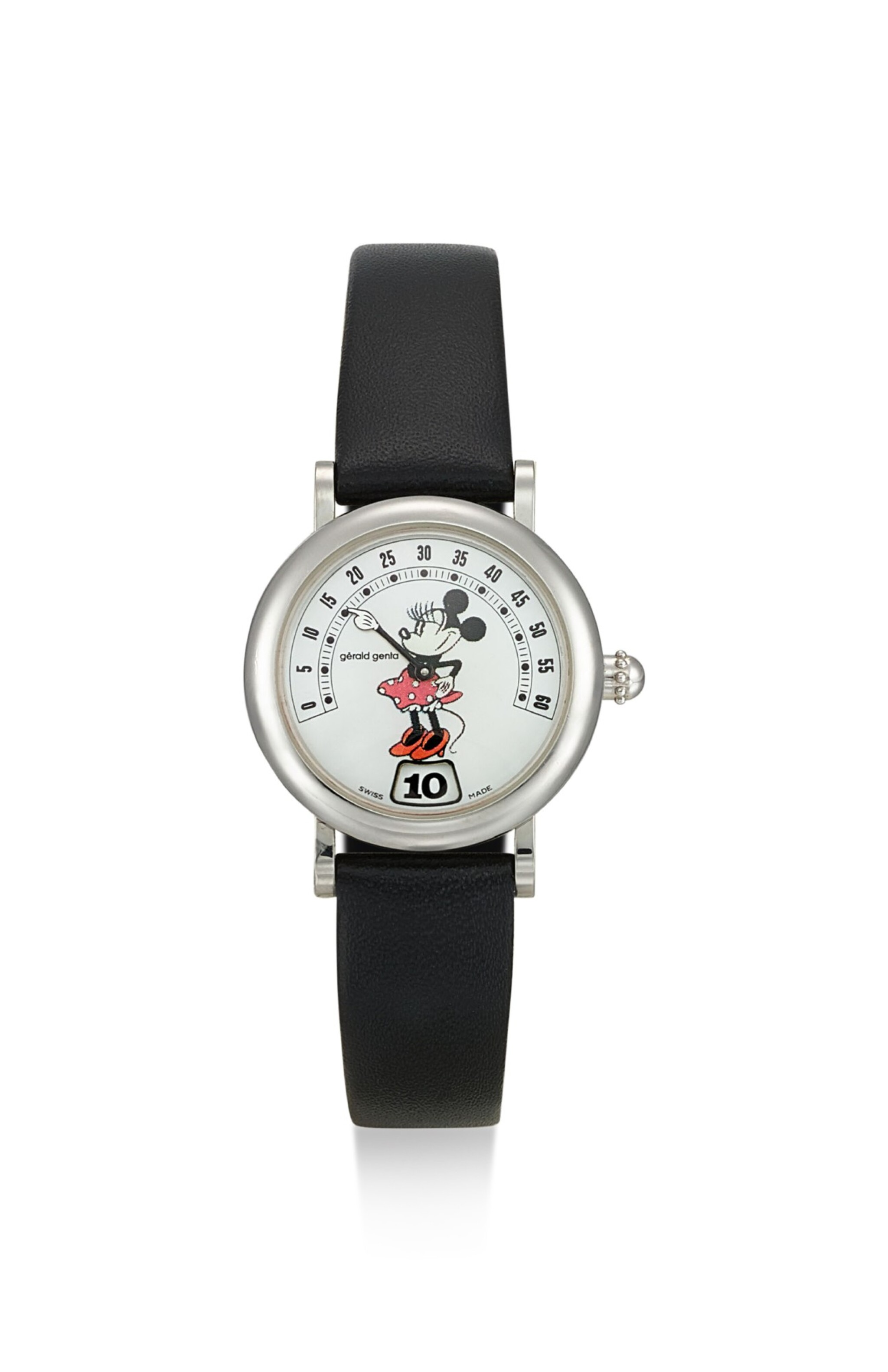 View 1 of Lot 8234. GÉRALD GENTA | FANTASY RETRO MINNIE MOUSE, REFERENCE G.3622.7, A STAINLESS STEEL JUMPING HOUR WRISTWATCH WITH RETROGRADE MINUTES AND MOTHER-OF-PEARL DIAL, CIRCA 1995.