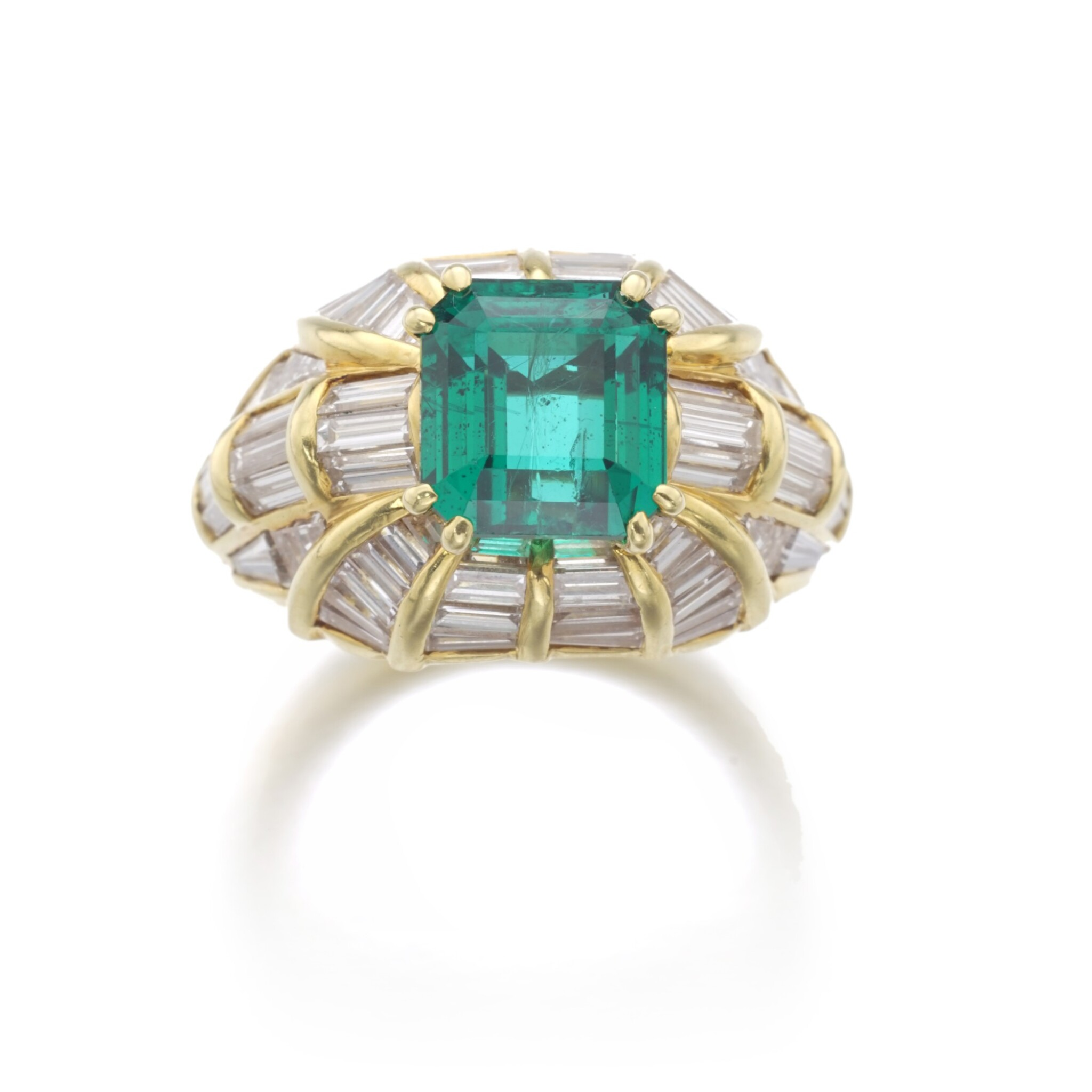 View full screen - View 1 of Lot 180. EMERALD AND DIAMOND RING.