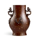 A large gold-splashed bronze 'mythical beasts' vase Qing dynasty, early 18th century | 清十八世紀初 灑金銅瑞獸瓶