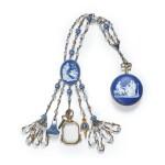 A WEDGWOOD BLUE AND WHITE JASPERWARE AND STEEL-CUT CHATELAINE CIRCA 1800