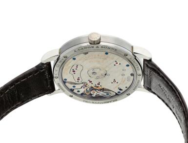 View 6. Thumbnail of Lot 289. Reference 139.035F Grand Lange 1 Moon Phase Lumen  A limited edition platinum semi-skeletonized wristwatch with date, moon phases and power reserve indication, Circa 2017 .