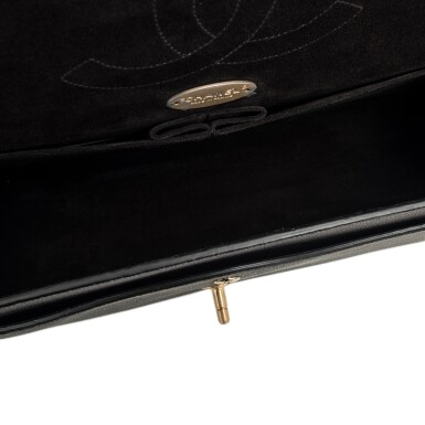 """View 7. Thumbnail of Lot 62.  Chanel """"Pure"""" Jumbo Double Flap Bag of Black Caviar Leather with Gold Tone Hardware."""