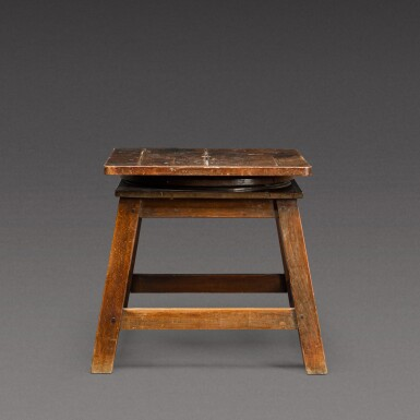 View 2. Thumbnail of Lot 175. A sculptor's walnut tripod low stand, probably French, early 20th century.