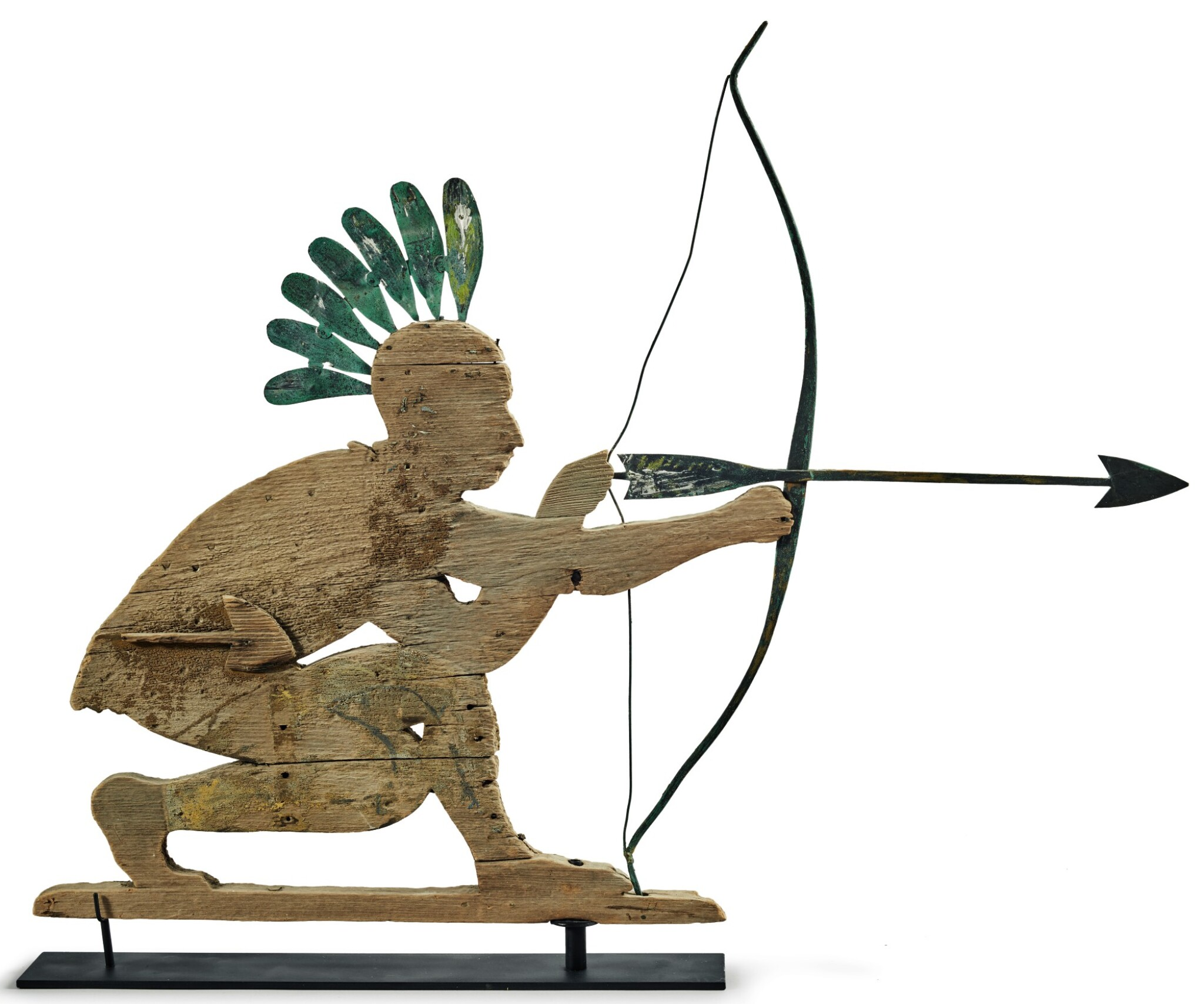 View full screen - View 1 of Lot 1469. RARE AMERICAN CARVED PINE AND MOLDED SHEET-COPPER NATIVE AMERICAN ARCHER WEATHERVANE, EARLY 20TH CENTURY.