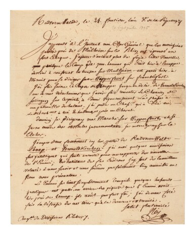 View 1. Thumbnail of Lot 99. NEY   letter signed, to General Kléber, 1797.