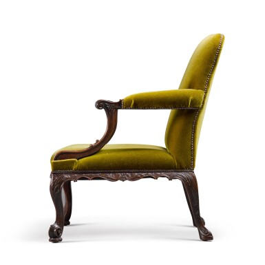 View 3. Thumbnail of Lot 126. A GEORGE II STYLE CARVED MAHOGANY GAINSBOROUGH ARMCHAIR, 19TH CENTURY.