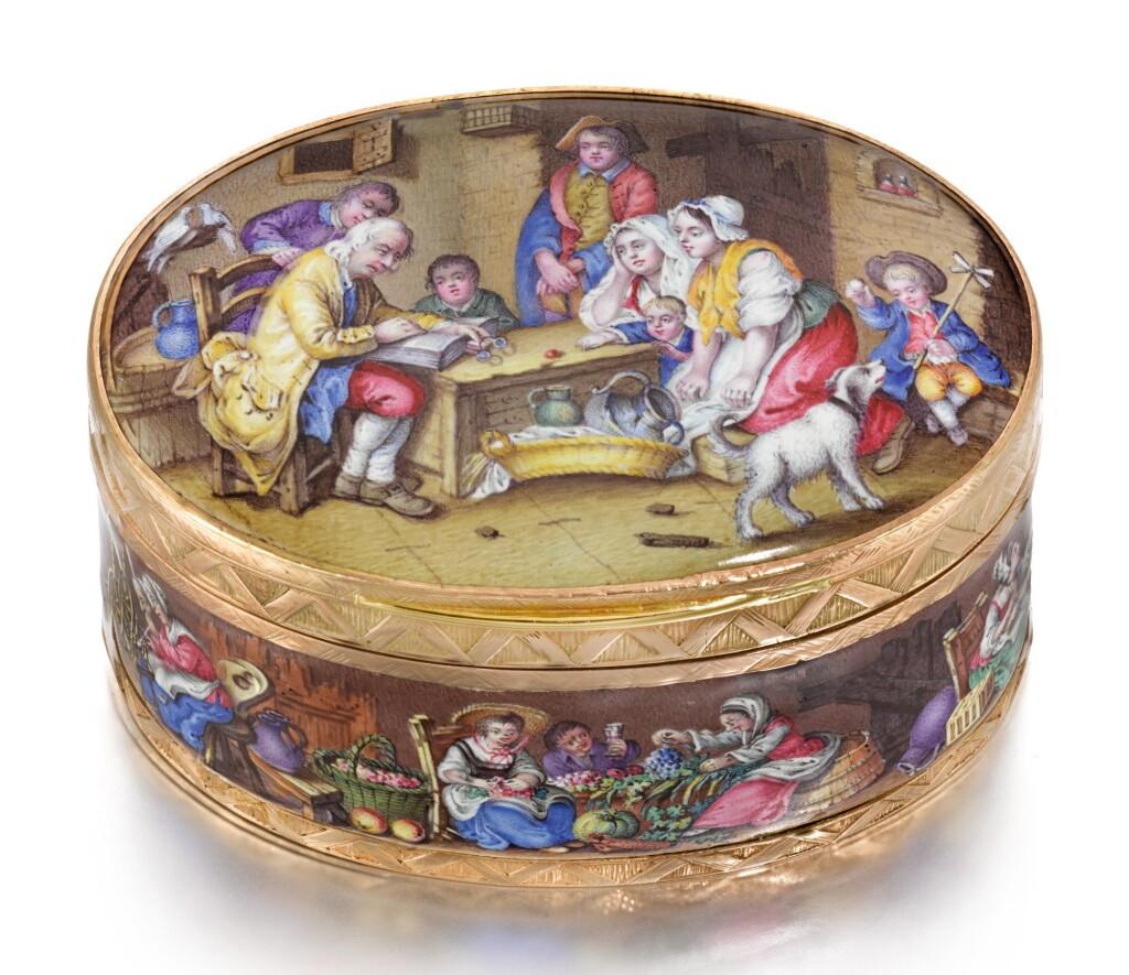 A GOLD AND ENAMEL SNUFF BOX, PROBABLY VIENNA, CIRCA 1770