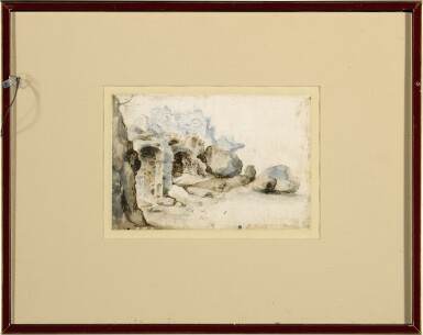 View 4. Thumbnail of Lot 19. Recto: View Along the Tiber Verso: Sketch of a Rocky Grotto with Ruins    .