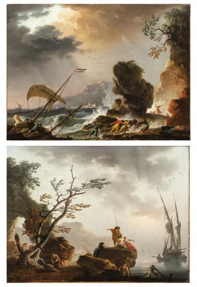 View 1. Thumbnail of Lot 47. Fishermen at Sunrise;  A Storm.