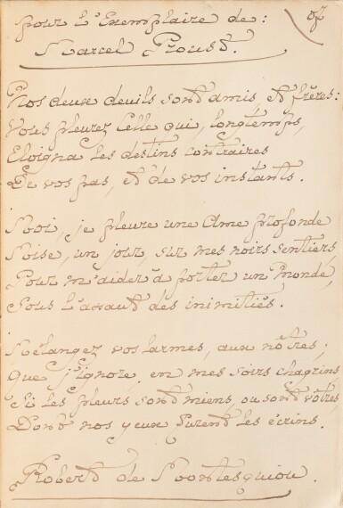 View 1. Thumbnail of Lot 78. MONTESQUIOU, Robert de. Les Hortensias bleus. 1906. Ex. de Marcel Proust, avec un bel envoi. Prov Guérin..