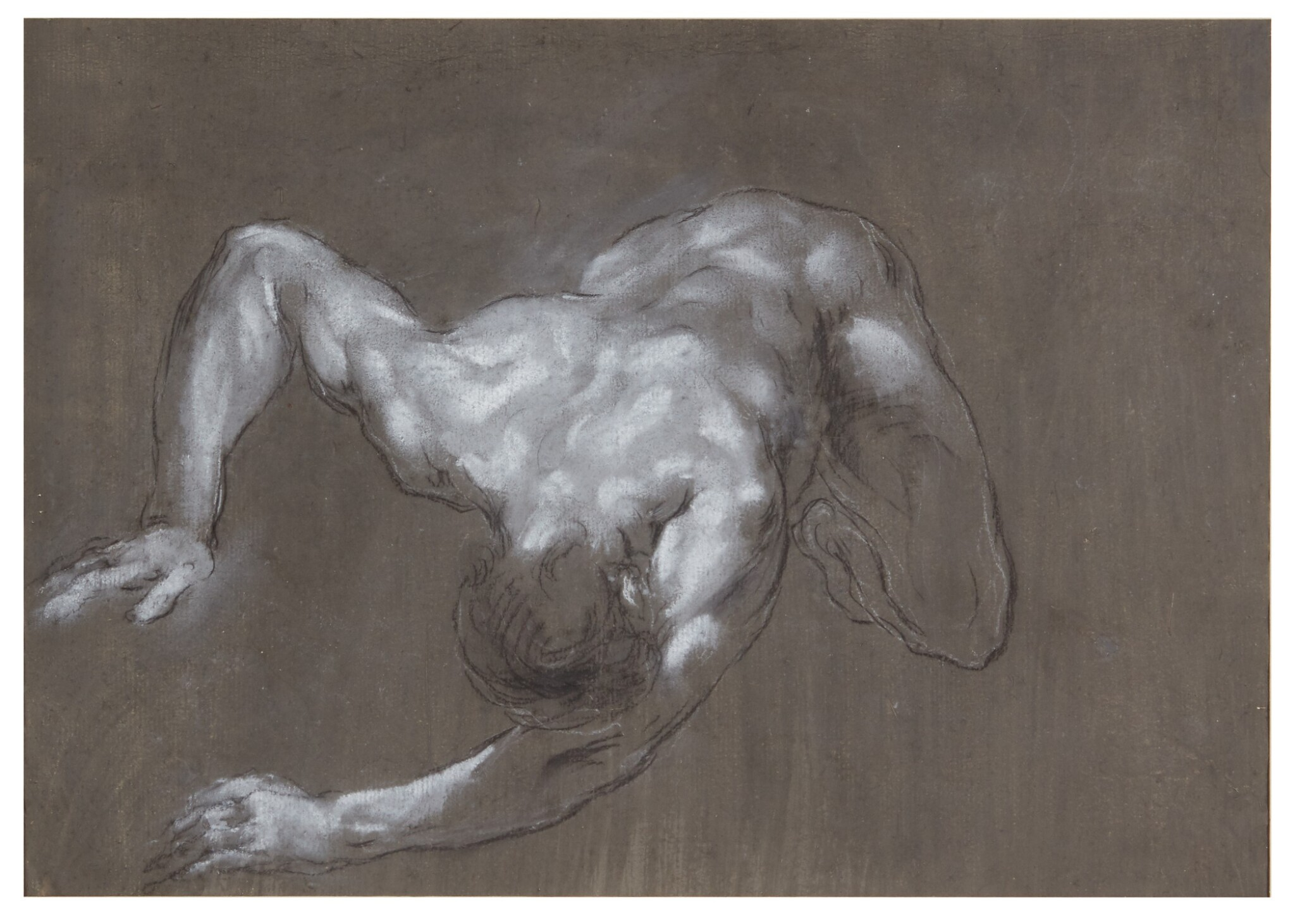View full screen - View 1 of Lot 107. FRANCESCO MONTI  |  RECTO: A CROUCHING MAN, SEEN FROM ABOVE; VERSO: STUDY OF LEGS.