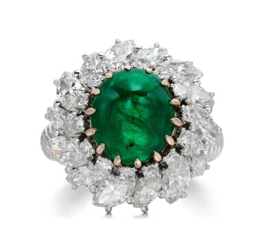 View 1. Thumbnail of Lot 83. EMERALD AND DIAMOND RING.