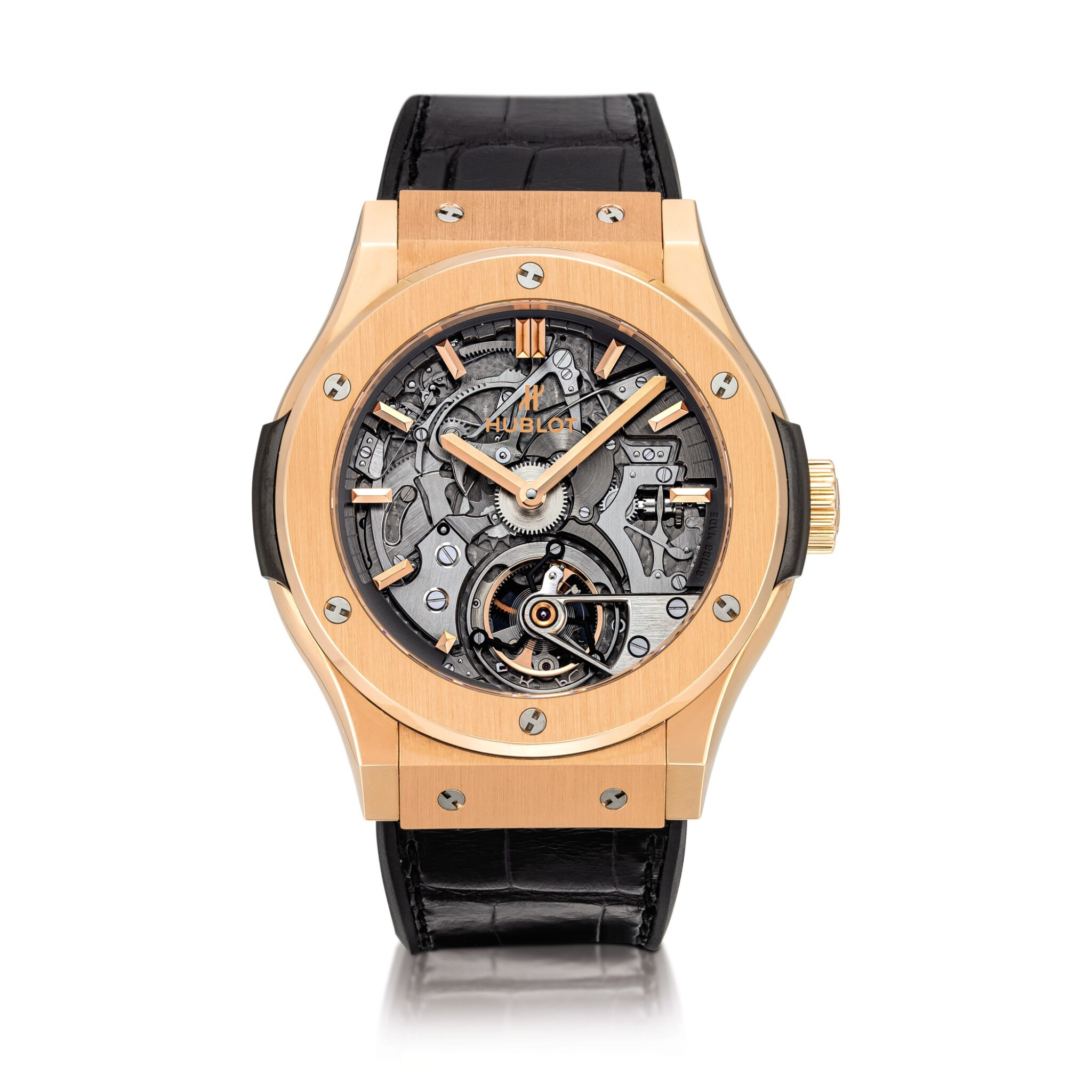 View full screen - View 1 of Lot 2104. Hublot | Classic Fusion, Reference 504.OX.0180.LR, A limited edition king gold skeletonized tourbillon minute repeating wristwatch with cathedral gongs, Circa 2014 | 宇舶 | Classic Fusion 型號504.OX.0180.LR  限量版帝王金鏤空陀飛輪三問腕錶,備大教堂音簧,約2014年製.