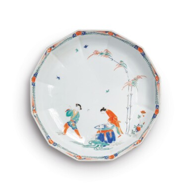 A MEISSEN 'HOB IN THE WELL' LARGE DODECAGONAL DISH CIRCA 1730