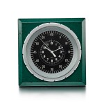 PATEK PHILIPPE FOR ROLEX | A GREEN PAINTED METAL ELECTRIC DESK CLOCK, CIRCA 1970