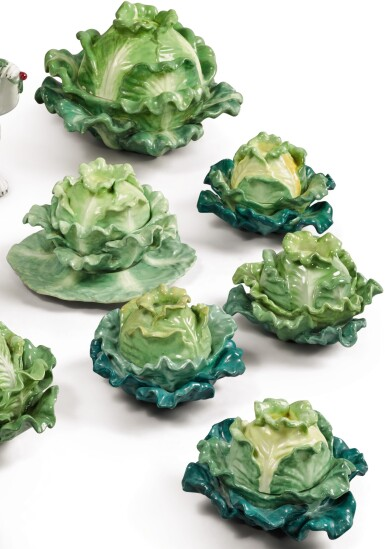 View 1. Thumbnail of Lot 157. FOUR PAIRS (JACOB PETIT FACTORY) CABBAGE-FORM PORCELAIN BOXES AND COVERS, CIRCA 1830-1850.