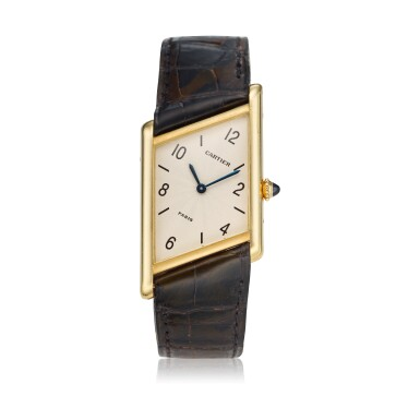 View 1. Thumbnail of Lot 221. Reference 2488 Tank Asymétrique  A limited edition yellow gold asymmetric wristwatch, Made in 1996 .