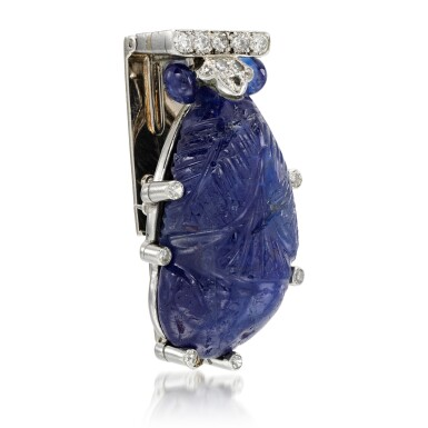 View 2. Thumbnail of Lot 24. Sapphire and diamond clip brooch, 1930s.