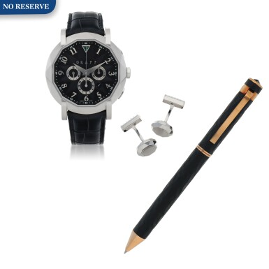 View 1. Thumbnail of Lot 431. CHRONOGRAFF, REF LWG LIMITED EDITION WHITE GOLD CHRONOGRAPH WRISTWATCH WITH DATE, MATCHING CUFFLINKS AND PEN CIRCA 2012.