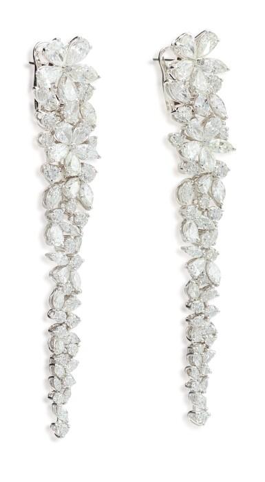 View 3. Thumbnail of Lot 1070. 'Carissa' Pair of Diamond Pendent Earrings | 格拉夫| 'Carissa' 鑽石耳墜一對 (鑽石共重約20.20克拉).