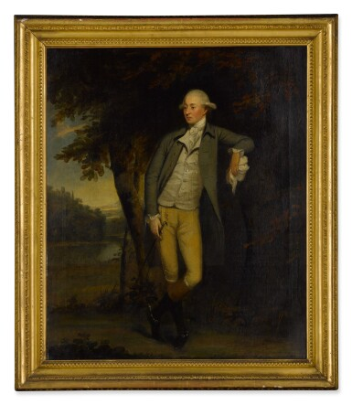 View 3. Thumbnail of Lot 108. Portrait of a gentleman in a landscape, full length.
