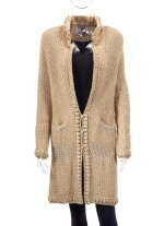 CREAM METALLIC MOHAIR-BLEND WITH LAMBSKIN LEATHER INSERTS, CHANEL