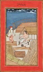 A TIMBER MERCHANT IN HIS YARD, INDIA, CIRCA 1800