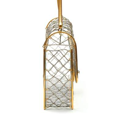View 3. Thumbnail of Lot 359. Clear Cage Bag in Lucite with Beading, Gold Tone Frame and Chain Strap, circa 1990s.