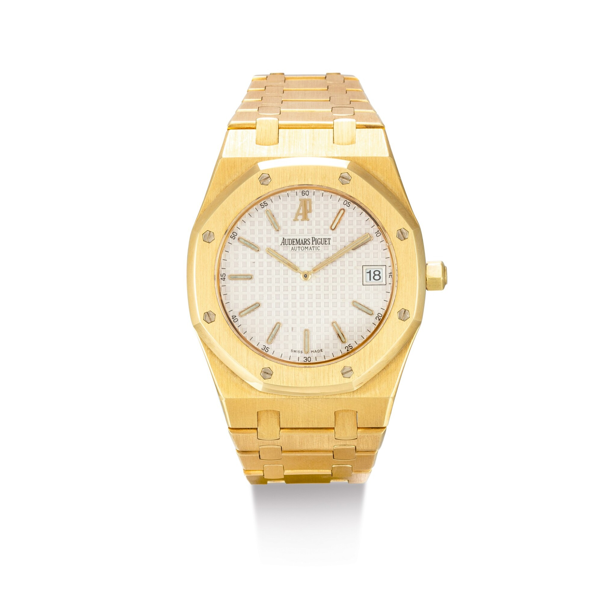 "View full screen - View 1 of Lot 2091. AUDEMARS PIGUET | ROYAL OAK, REFERENCE 15202BA, A YELLOW GOLD BRACELET WATCH WITH DATE, CIRCA 2000 | 愛彼 | ""Royal Oak 型號15202BA 黃金鏈帶腕錶,備日期顯示,機芯編號415023,錶殼編號E-41585及14,約2000年製""."