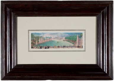 View 2. Thumbnail of Lot 2. View of The Hague with Elegant Figures Promenading.