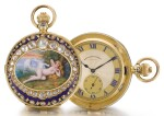 WEST END WATCH CO.   A GOLD, ENAMEL AND DIAMOND-SET HALF-HUNTING CASED MINUTE REPEATING CLOCK WATCH MADE FOR THE INDIAN MARKET   CIRCA 1910