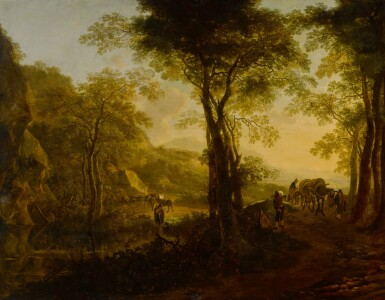 View 1. Thumbnail of Lot 44. Italianate landscape at sunset, with travelers on a country road.