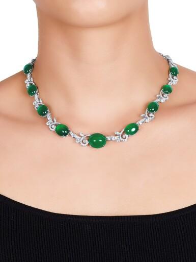 View 2. Thumbnail of Lot 1724. Jadeite and Diamond Demi-Parure | 天然翡翠 配 鑽石 項鏈及耳環套裝.