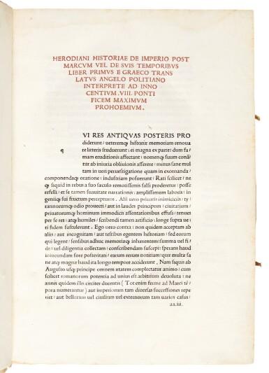 Herodianus, Historia de imperio post Marcum, Bologna, 1493, later limp vellum