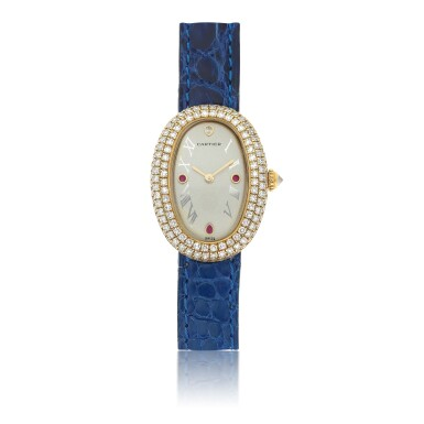 View 1. Thumbnail of Lot 31. CARTIER | REF 1950 1 BAIGNOIRE, A LADY'S YELLOW GOLD, DIAMOND AND RUBY SET OVAL WRISTWATCH CIRCA 2005.