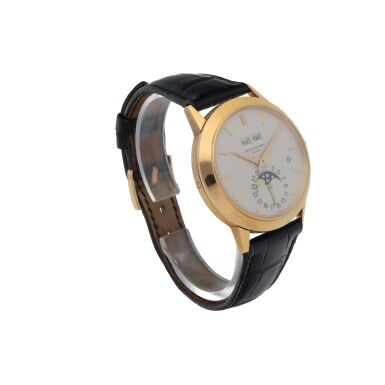 View 3. Thumbnail of Lot 72. Ref. 3450 Yellow gold perpetual calendar wristwatch with moon phases and leap-year indication Made in 1982 | 百達翡麗 3450型號黃金萬年曆腕錶備月相及閏年顯示,1982年製.