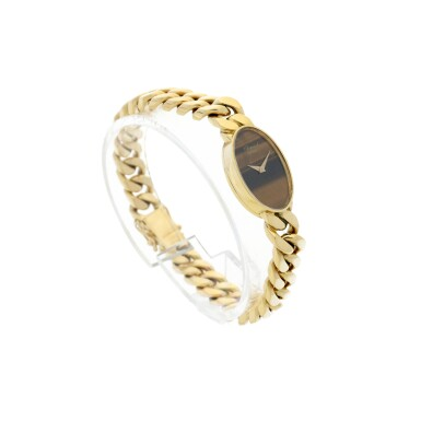 View 3. Thumbnail of Lot 221. REFERENCE 5026/1 A LADY'S YELLOW GOLD BRACELET WATCH WITH TIGER EYE DIAL, CIRCA 1990'S.