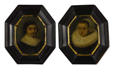 View 2. Thumbnail of Lot 54. Sold Without Reserve | AMSTERDAM SCHOOL, CIRCA 1630 | PORTRAIT OF A GENTLEMAN, BUST LENGTH, WEARING A RUFF; PORTRAIT OF A LADY, BUST LENGTH, WEARING A RUFFLED COLLAR AND WHITE LACE BONNET.
