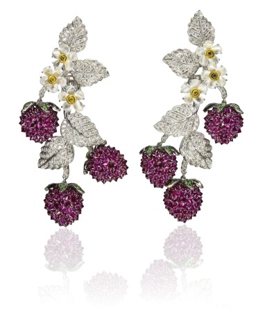 Pair of gem set and diamond pendent ear clips, 'Fragoline', Michele della Valle