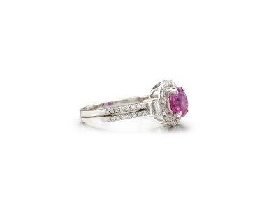 View 2. Thumbnail of Lot 45. PINK SAPPHIRE AND DIAMOND RING.