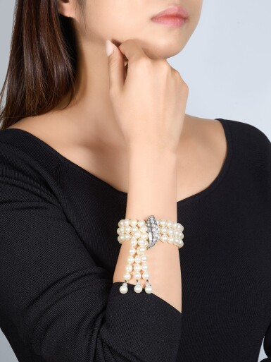 View 1. Thumbnail of Lot 9037. 'Flammes' Cultured Pearl and Diamond Bracelet   梵克雅寶   'Flammes' 養殖珍珠 配 鑽石 手鏈.