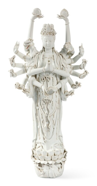 View 1. Thumbnail of Lot 1149.  A VERY LARGE 'DEHUA' FIGURE OF MULTI-ARM GUANYIN, 19TH / 20TH CENTURY.
