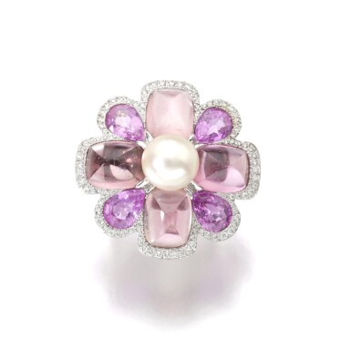 View 1. Thumbnail of Lot 141. TOURMALINE, CULTURED PEARL AND DIAMOND RING, CHANEL.
