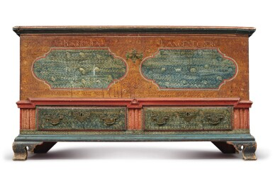 View 1. Thumbnail of Lot 356. Federal Polychrome Paint-Decorated Poplar Blanket Chest with Two Drawers, Lancaster County, Pennsylvania, Circa 1780.