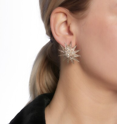 View 4. Thumbnail of Lot 89. Pair of diamond earrings/pendants, late 19th century.